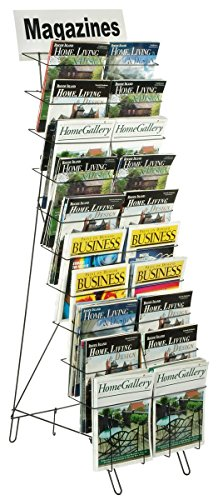 Displays2go Floor-Standing Wire Literature Rack with 20 Tiered Pockets, Removable Dividers - Black (WRF10T17) (Wire Tiered)