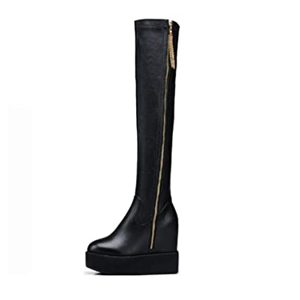 ef12380f2d17d Amazon.com: YaXuan Women's Long Boots, Autumn Winter New Flat Bottom ...