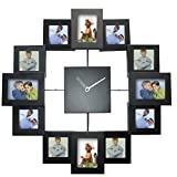 Timelike DIY Frame Clock, 12 Picture Aluminum Photo Frame Wall Clock Modern Design Unique Home Decor - Make Your Own Multi-Photo Clock (Black)