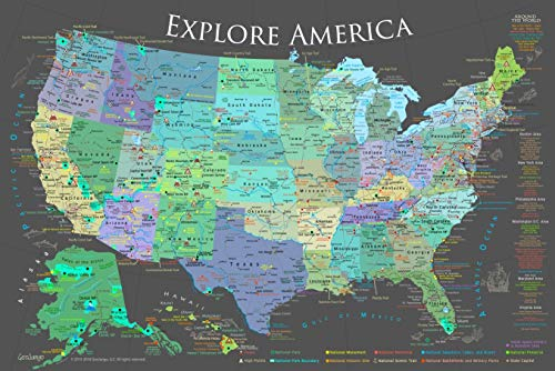 GeoJango National Parks Map Poster Slate Edition (24W x 16H inches) (Best Rv Size For National Parks)