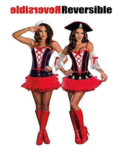 [Dreamgirl 7592 Dames At Sea Reversible Sexy Sailor/Pirate Costume (As Shown;X-Large)] (Dames At Sea Costumes)