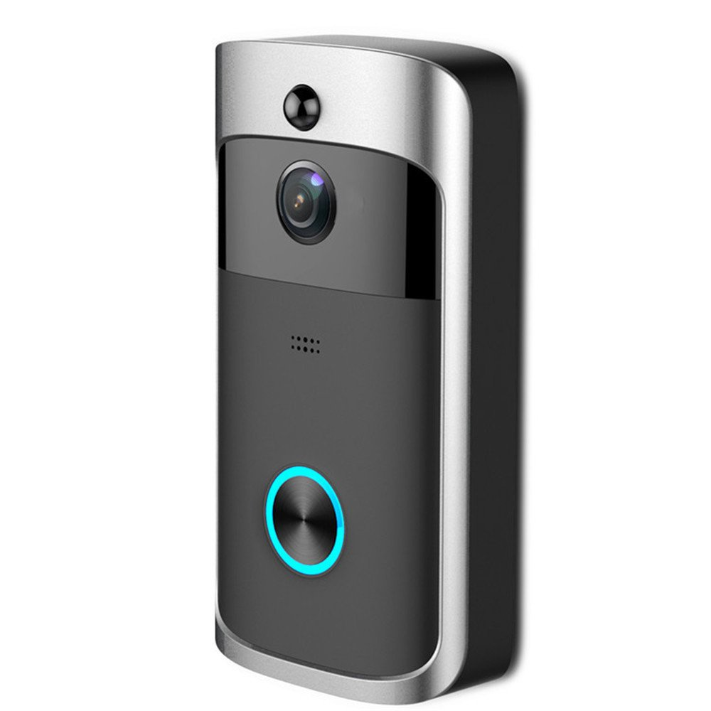 Rumfo Wifi Wireless Video Doorbell Real-Time Smart Doorbell 720P Hd, Doorbell Two-Way Audio Wide-Angle Lens Night Vision Pir For Ios And Android (Black)