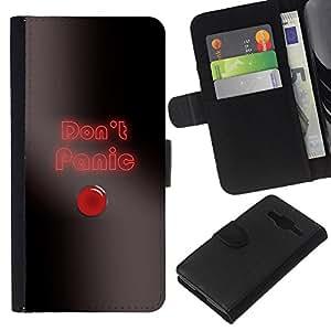 KLONGSHOP // Tirón de la caja Cartera de cuero con ranuras para tarjetas - Do not Panic Button - Samsung Galaxy Core Prime //