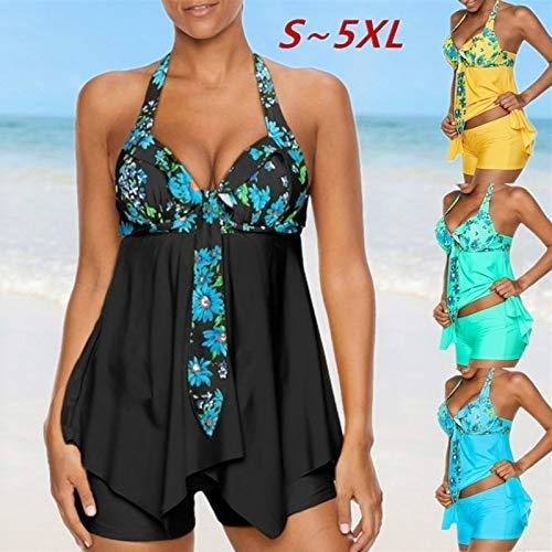 (Plus Size Vogue Floral Printed Asymmetric Hem Beach 2-Pieces Halter Swimsuit Swimdress + Swimming Shorts Bathing Suits (Lake Green,XL))