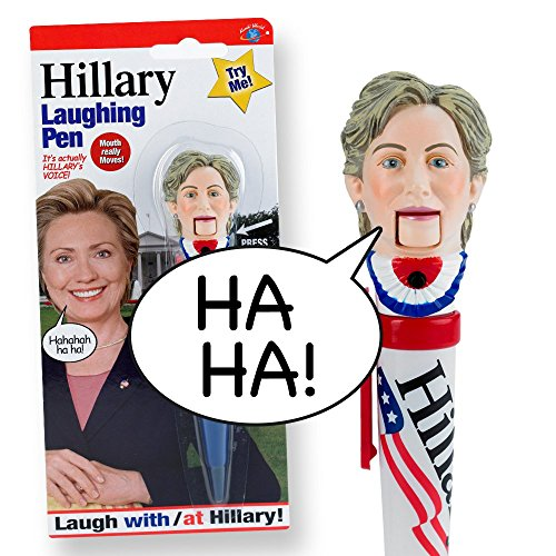 [Hillary Clinton Laughing Pen - Mouth Moves - Hillary's REAL LAUGH - Funny Gift for for Hillary & Donald Trump Fans - Superior Audio Quality - Replaceable Batteries Included - It's] (Barack Obama Face Mask)