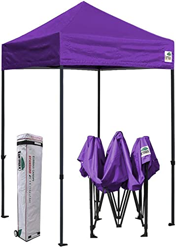 Eurmax 5×5 Ez Pop up Canopy Outdoor Heavy Duty Instant Tent Pop-up Canopies Sun Shelter with Deluxe Wheeled Carry Bag Purple
