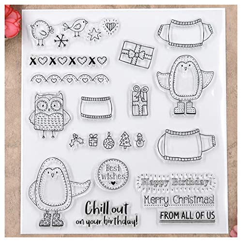 Kwan Crafts Merry Christmas Penguin Owl Best Wishes Brids Clear Stamps for Card Making Decoration and DIY Scrapbooking