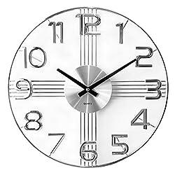A.Cerco Classy 16 Iron/ Aluminum Silent Quartz Wall Clock- Silver Stripers With Silver Numeral