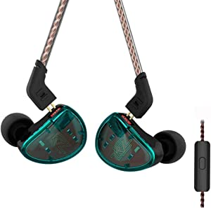 KZ AS10 Pure 5 Balanced Armature 5BA Earphone, Musician in Ear Monitor Headphone High Fidelity HiFi Headset (with Microphone, Green)