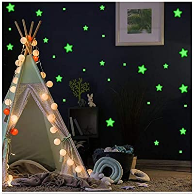 Aooyaoo Glow in The Dark Stars Wall Stickers, Glowing Stars for Ceiling and Wall Decals, 3D Glowing Stars,Excluding The Moon?Perfect for Kids Bedding Room or Party Birthday Gift(452Pcs, Green)