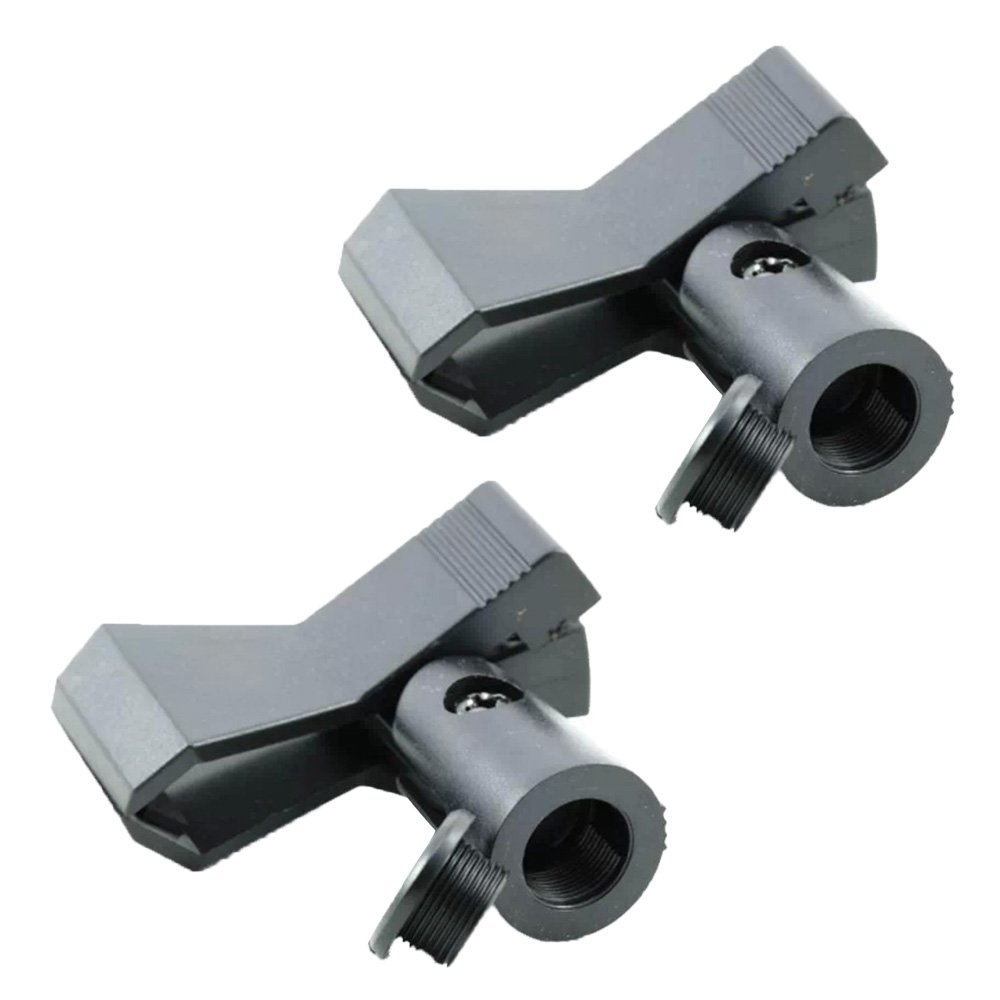 2 PCS Universal Plastic Microphone Mount Clamp Clip Stand Holder for 22-35mm Diameter Wired Wireless Microphone Gosear