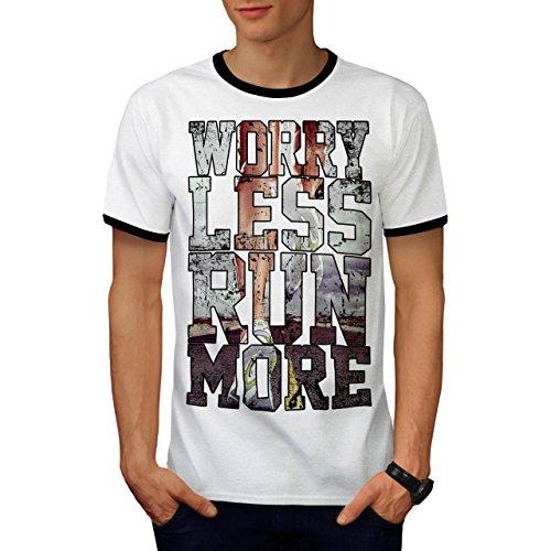 Worry Less Run More Motivation Men S Ringer T-shirt   Wellcoda - Sled Hockey Sticks