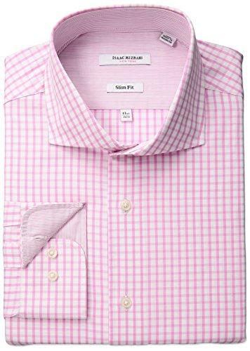 """Isaac Mizrahi Men's Slim Fit Coincide Cut Away Collar Dress Shirt, Real Pink, 16"""" Neck 32""""-33"""" Sleeve"""