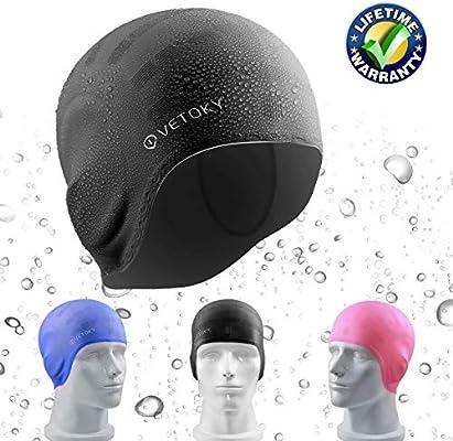vetoky Gorra de Natación, Unisex (Azul, Negro, Rosa) Gorra de ...