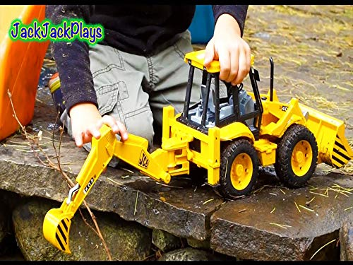 Mighty Trucks - Backhoe Toy Unboxing Construction Trucks In Action Bruder Mighty Machines