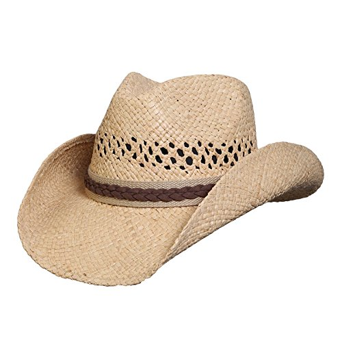 Conner Hats Unisex Good Day Western Raffia Hat, Natural, L/XL Beige ()