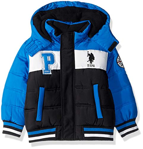 US Polo Association Boys' Big Bubble Jacket with Rib Knit Cuffs, Black/Blue Tile, 10/12 (Polo Jackets For Big Boys)