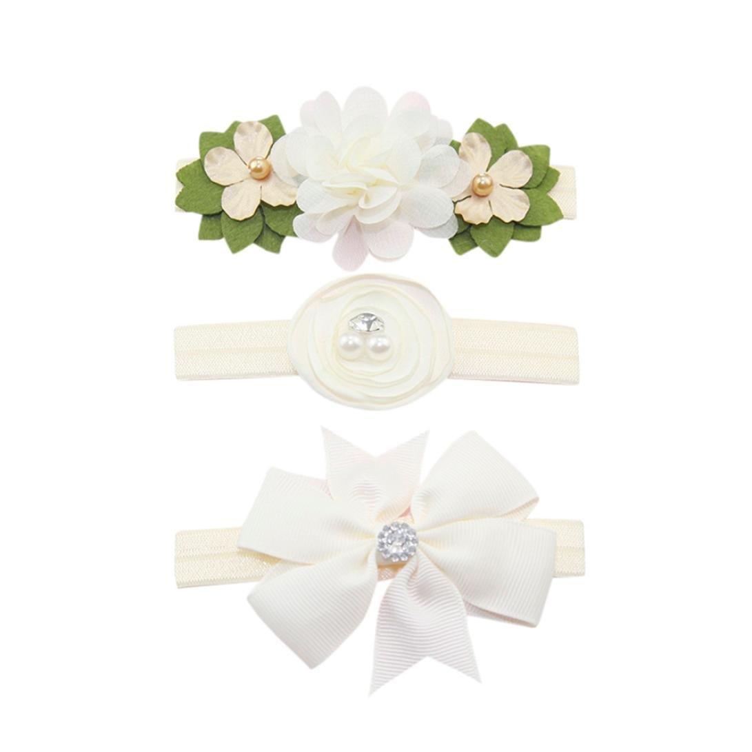 Huhu833 3 Stück Kinder Elastische Blumen Stirnband Haar Mädchen Baby Bowknot Haarband Set