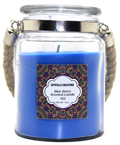 - Crystalo Creations Blueberry Scented Candle with Rope Handle, 18 Ounce