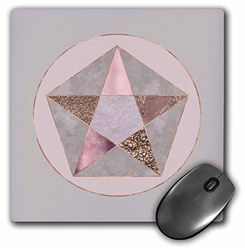 3dRose Andrea Haase Art Illustration - Elegant Geometric Star With Rose Gold And Pastel Pink Texture - MousePad (Pink Shimmering Stars)