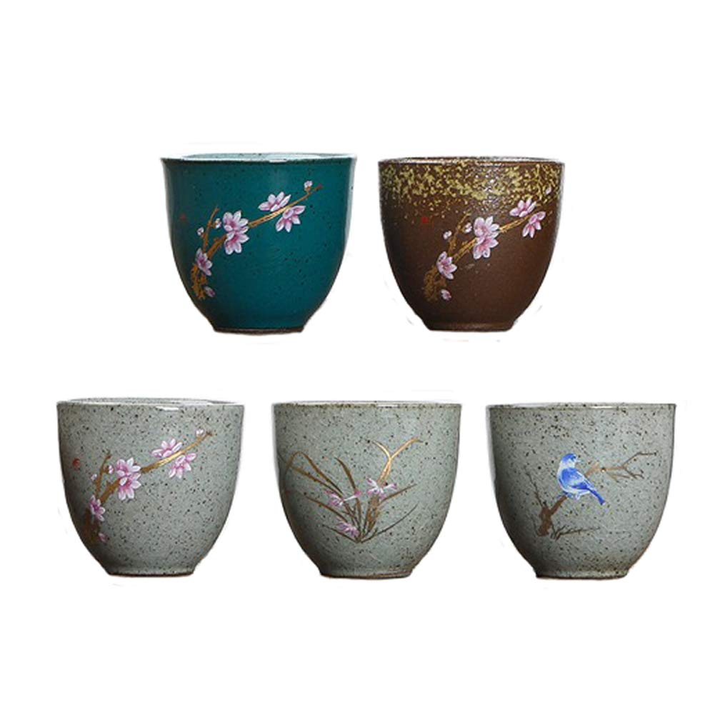KCHAIN Pack of 5 Pottery Handmade Mugs set Original Sake Cup Teacup in Ceramic Sake Japanese Tea Mug and Fresh Drinks