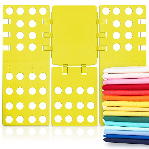 WYZworks V2 Magic Fast Clothes Folder Adjustable Adult T-Shirts Folding Board, Yellow