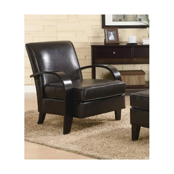 Roundhill Furniture Wonda Bonded Leather Accent Chair with Wood Arms, Brown