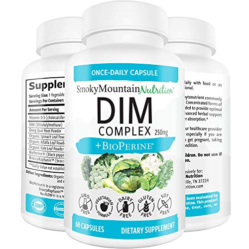 DIM Supplement 250mg Plus BioPerine, Sulforaphane, Dong Quai, Vitamin D, Organic Alfalfa & Broccoli. Menopause Relief, Hormone Balance, Hormonal Acne, PCOS & Aromatase Inhibitor- for Women & for Men