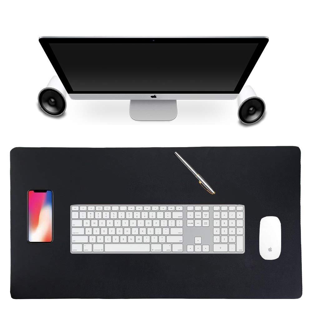 Alfombrilla de ratón antideslizante de piel sintética para escritorio, alfombrilla de ratón impermeable, almohadilla de escritorio, alfombrilla protectora de doble cara para oficina y hogar, 80 x 40 x 2 cm (Negro y Rojo) OENLY
