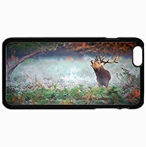 Personalized Protective Hardshell Back Hardcover For iPhone 6 Plus, Deer Horn Sound Vote Shout Forest Design In Black Case Color
