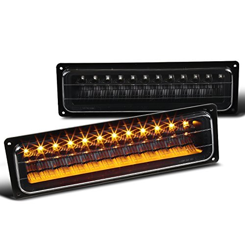 Chevy C10 GMC C/K Black Clear LED Bumper Parking Lights Left+Right ()