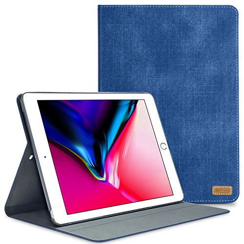 TORRAS iPad 9.7 2018/2017 Case, PU Leather Jeans Exterior Cover Slim Folio Stand with Auto Wake/ Sleep Feature Case for Apple New iPad 5th 6th Generation Model A1822 A1823 A1893 A1954 - Navy Blue
