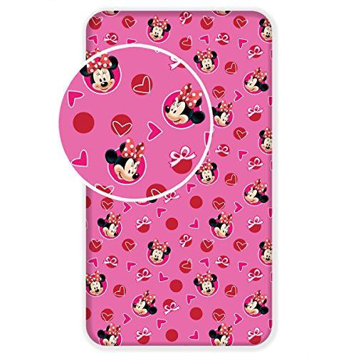 Jerry Fabrics Minnie Mouse Hearts Single Fitted Bed Sheet By BestTrend by Jerry Fabrics