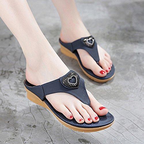 CHANCLAS SANDALS Zapatillas ocasionales antideslizantes de las sandalias del dedo del pie de la cara del verano de la manera de las muchachas elegante ( Color : Beige , Tamaño : EU39/UK6/CN39 ) Azul