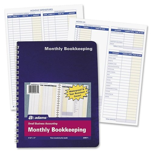 Adams Monthly Bookkeeping Record – White – 1Each