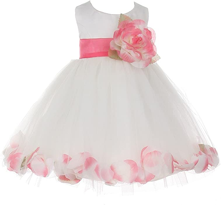 c510a9317395 Cinderella Couture Baby Girls Ivory Coral Petal Adorned Satin Tulle Flower  Girl Dress 6M