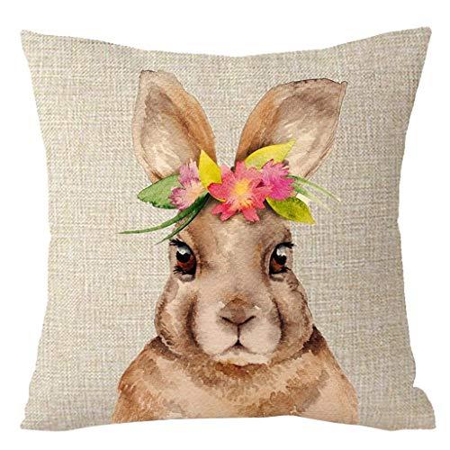 Cushion Cover - Square Home Decor Bunny Cushion Cover Rabbit Printing Throw Pillow Case Cotton Linen Decorative Sofa - Embroidery Unicorn Rust Geometric Animal Africa Zippered Purple Plain ()