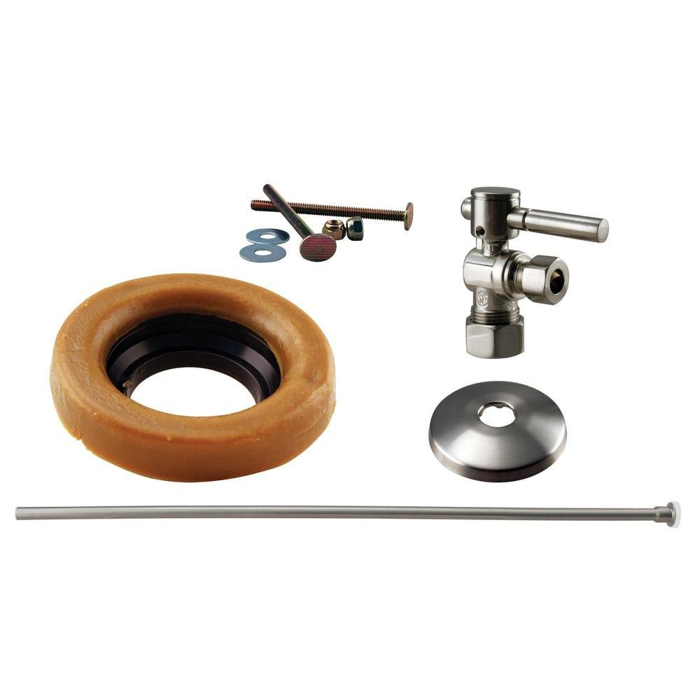 Westbrass D1614TBL-07 1/2'' Nominal Compression Lever Handle Angle Stop Toilet Installation Kit with Annealed Brass Supply Line, Satin Nickel