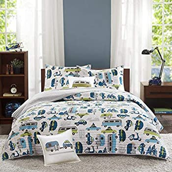 Lush Decor Whale Kids Reversible 4 Piece Quilt Bedding Set with Sham and Decorative Throw Pillows Twin Navy Triangle Home Fashions C41857P15-000