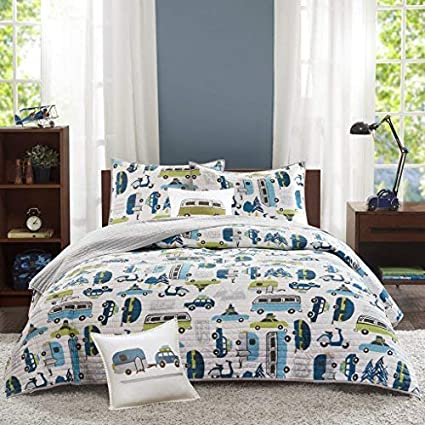INK+IVY Kids Road Trip Twin Bedding Sets Boys Quilt Set - White Blue, Car – 3 Piece Kids Quilt for Boys – 100% Cotton Quilt Sets Coverlet IIK13-012