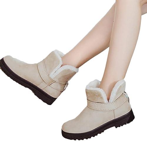 Yefree Botas de Nieve para Mujer Botines Cortos Invierno cálido tacón bajo Botines Ankel Mujer niña niña algodón Zapatos: Amazon.es: Zapatos y complementos