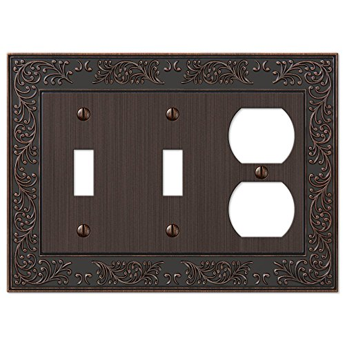 French Garden Double Toggle Switch and Single Duplex Outlet Wall Plate Cover Combo, Oil Rubbed Bronze - Switch Outlet Combo Wall Plate