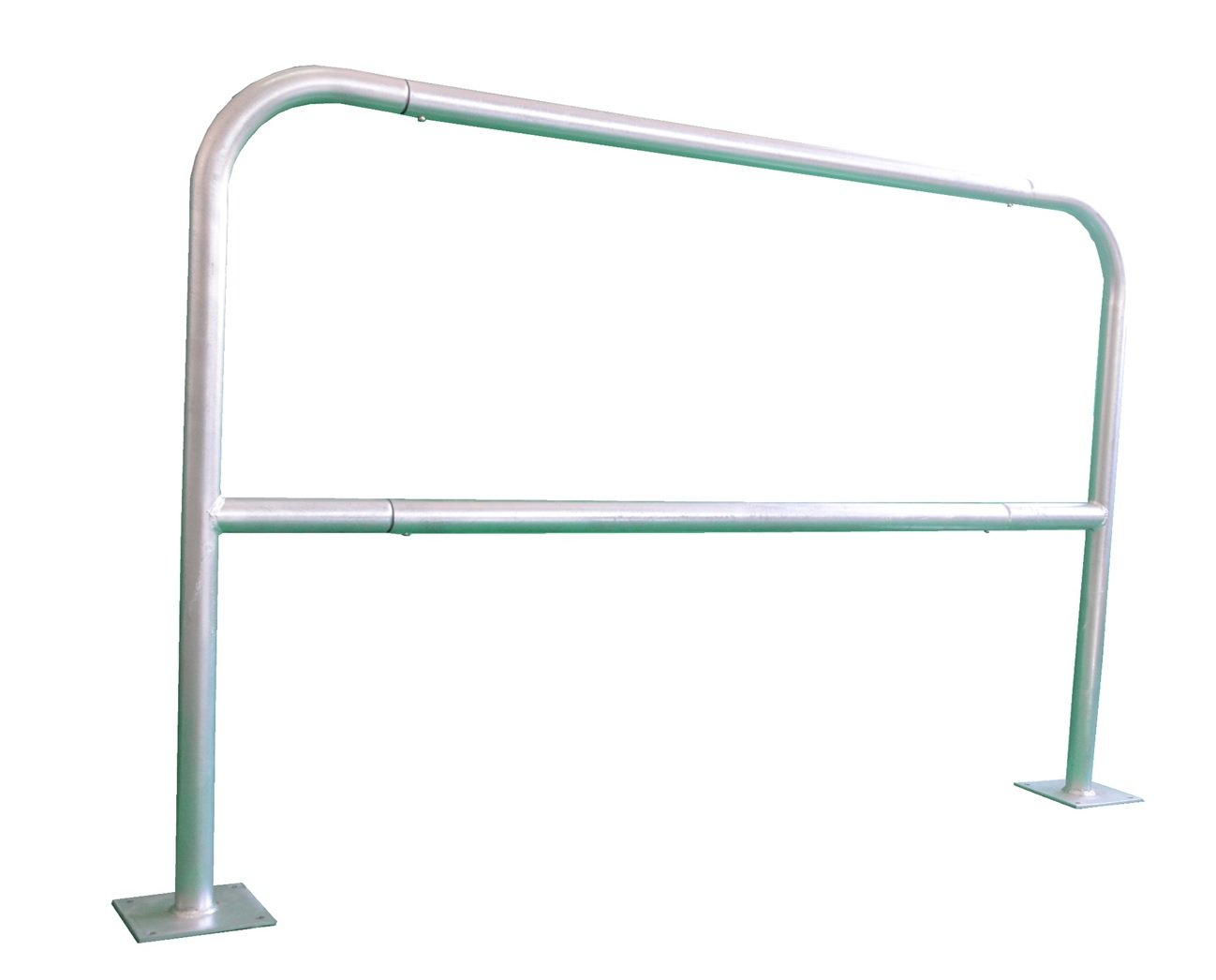 for bolting in place length: 1,5 m Pro/²Tect Safety Rail SHB-15-B-S silver Bike Railing Traffic Protection Steel Barrier with knee rail Guidance