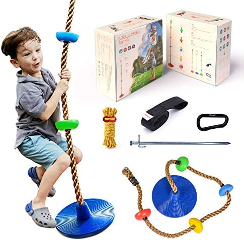 HAPPYPIE Climbing Rope with Platforms and Disc Tree Swing Seat, Children Playground Swingset Swings Accessories for Outdoor Inside, Saucer Swing Playset Toys-Blue