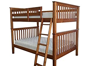 Bedz King Bunk Bed, Full Over Full Mission Style, Espresso