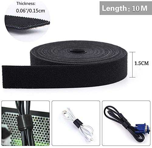 LEHSGY Cable Tidy Management 10 Meters, Hook and Loop Cable Ties Reusable Self Adhesive Straps, Velcro Tape Fastening Tape Cable Organization for Computer, TV, Power and Other Cables - (15MM*10M)        Amazon imported products in Lahore