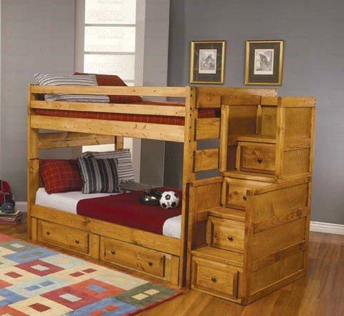 Full Size Bunk Bed with Stairway Chest in Amber Wash (Loft 9 Drawer Dresser)