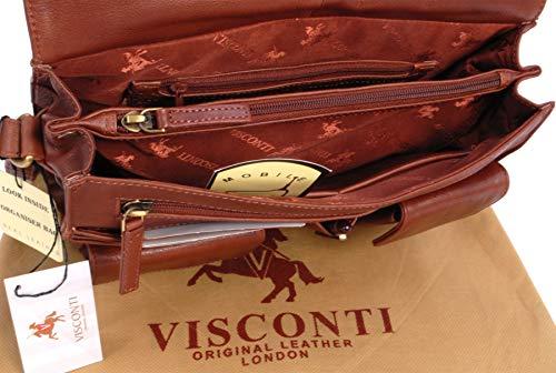 apto Visconti portátil para y ATLANTIC bandolera Kindle organizador Bolso iPad de cuero Marrón 754 0FqraSW0