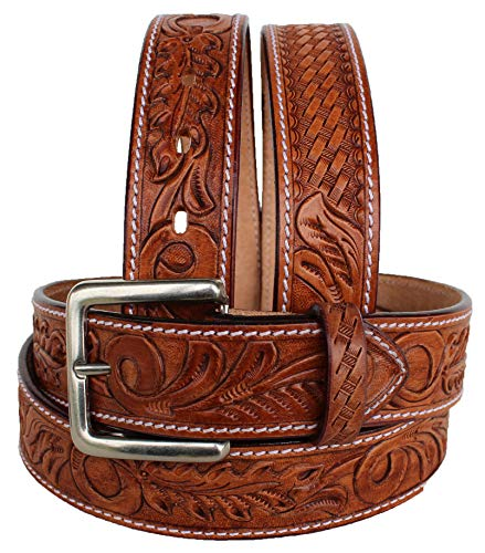 CHALLENGER 37-38 Men's Western Rodeo Fashion Tooled Floral w/Basket Weave Genuine Leather Belt 2646RS ()