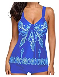 Tankini Swimsuits for women Retro 2 Piece Swimwear Printed Padded Tank Top Bathing Suits with Boyshort Bottom
